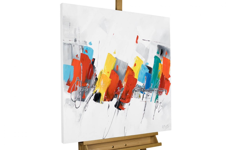 KunstLoft Acryl Gemälde 'Fearless' 80x80cm   original handgemalte Leinwand Bilder XXL   Abstrakt Blau Rot Gelb Bunt   Wandbild Acrylbild moderne Kunst einteilig mit Rahmen