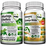 Focus + Energy Bundle | Panax Ginseng & Ginkgo Biloba Tablets + Moringa Oleifera Capsules - Premium non-GMO/ Veggie Superfood - Traditional Energy Booster and Brain Sharpener - Unique TRIO Supplement