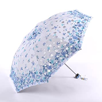 ZUWIT Deluxe Elegante portátil Bordado Sol Paraguas Protector de la Mujer Elegante UV Verano sombrilla sombrillas