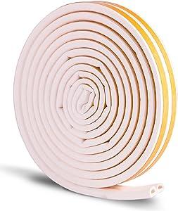 Petift Door Weather Stripping,Window Seal Strip,Self-Adhesive Foam Seal Strip,Soundproof Seal Strip Insulation Gap Blocker Epdm D Type16Ft White