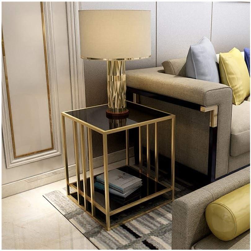 Unisex Metalen Vierkante Salontafel 2-layer Presentatieverpakking Zijlijst Eenvoudige Glazen Nachtkastje Witte 4.11 (Color : Black) Black cjCWq5H