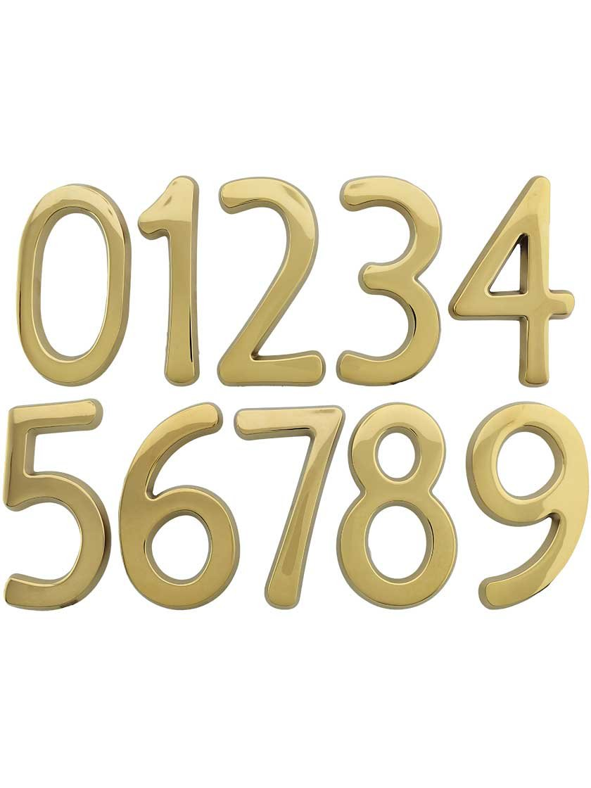 "Solid-Brass 6"" House Numbers Number 6 in Polished Brass"
