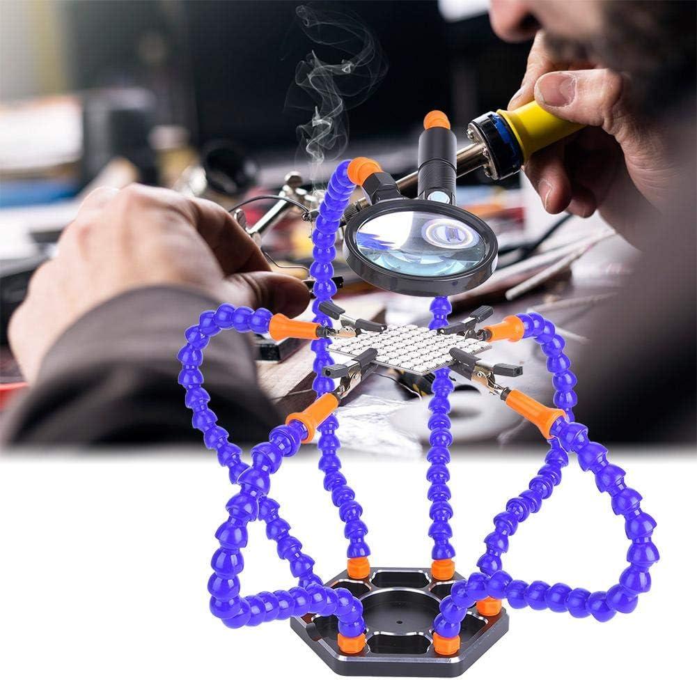 Nylonarm, Montageschl/üssel, Clip, Sockel, LED-Licht, Lupe L/ötstation mit helfenden H/änden L/ötkolben-Zubeh/ör-Werkzeugs/ätze flexible dritte Hand