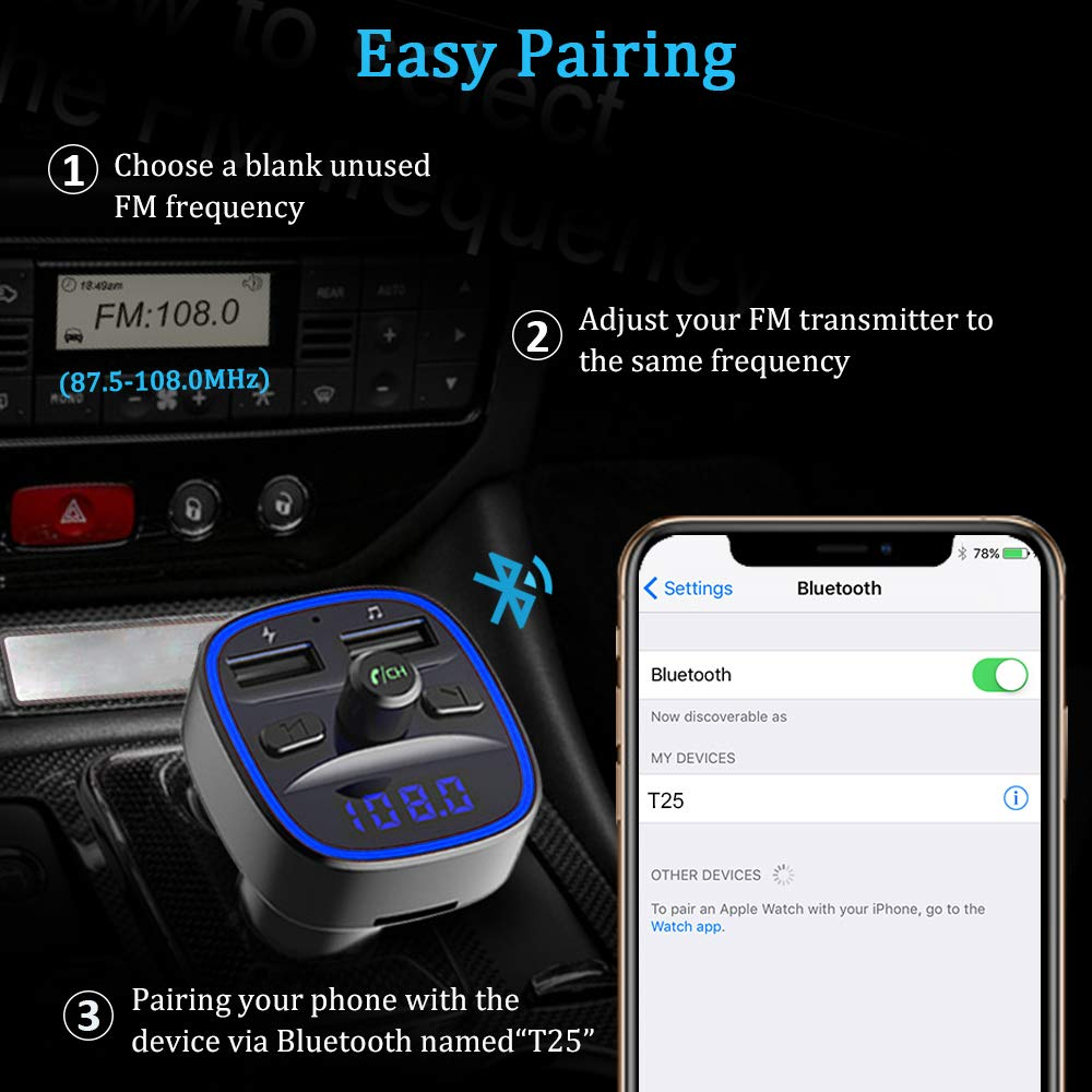 Black Bluetooth FM Transmitter Vproof in-Car Wireless Radio Transmitter Adapter Music Player Car Kit W Blue Circle Ambient Light 2 USB Ports Hands Free Calling SD Card /& USB Flash Drive Support