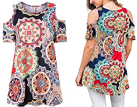 b81bd18871847 Image Unavailable. Image not available for. Color  Women s Navy Circles  Floral Print Casual Cold Shoulder Tunic Tops ...