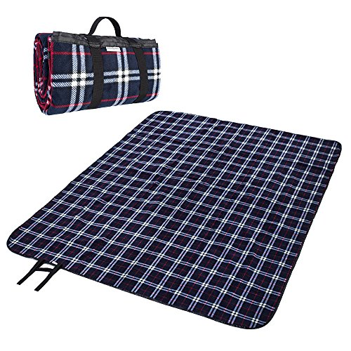 Collapsible Blanket - MelodySusie Fleece Outdoor Picnic Blanket Washable Extra Large 70x78 Foldable Water-resistant Picnic Blanket Camping Tote Mat for Outdoor Hiking Camping Travelling