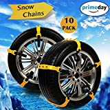 Snow Chains, Anti-skid Emergency Snow Tyre Chains Car Belting Straps, Universal Fit Emergency Anti-Skid Car Cable Tire Mud Snow Chains, Tyre Winter Traction Aid 10PCS