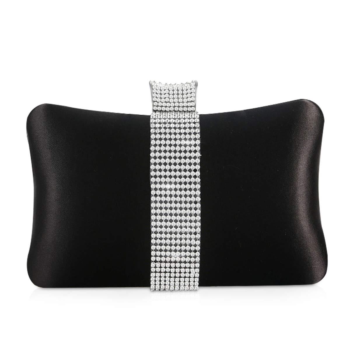 NICOLE & DORIS damhandväskor diamant silkeslen kuvertväska liten handväska bröllopsfest aftonväska Svart