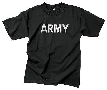 Amazon.com: Rothco P/T T-Shirt/Black - Army Reflective Grey ...