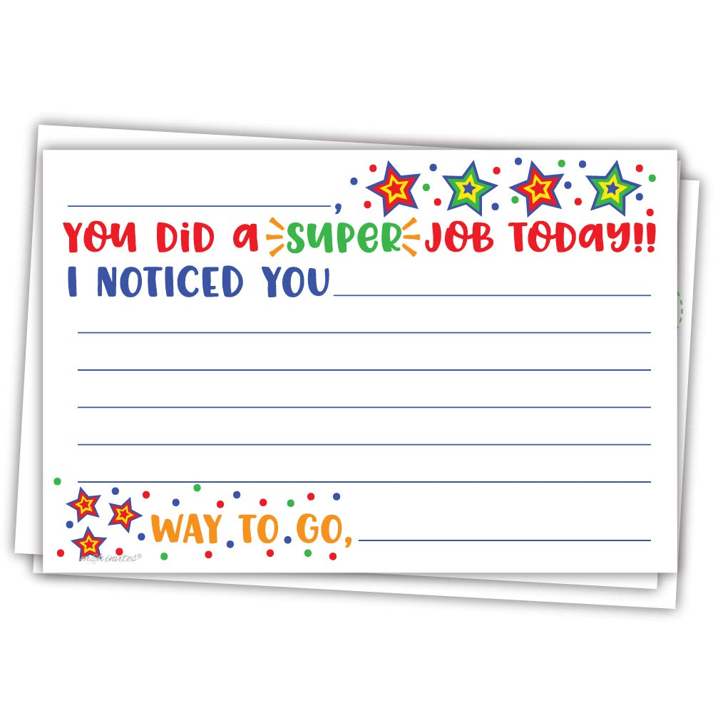 Super Job - Teacher Notes to Parents - Classroom Incentive Cards to Send Home - Motivational Good Behavior Cards [Package of 50] by m&h invites