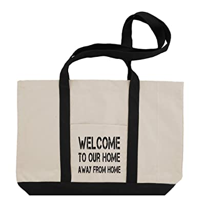 Welcome To Our Home Away From Home Cotton Canvas Boat Tote Bag Tote