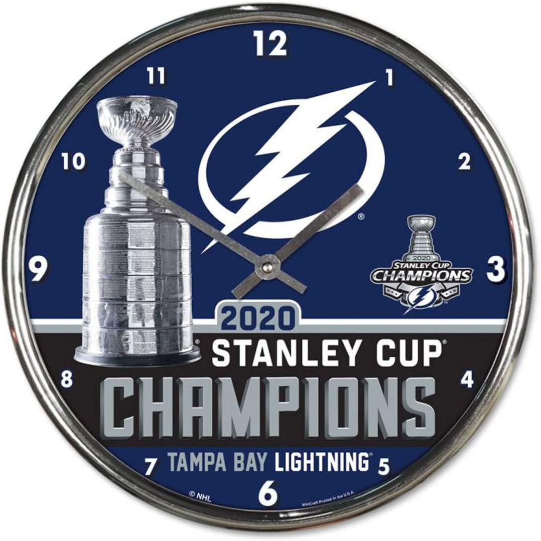 NHL Tampa Bay Lightning 2020 Stanley Cup Champions 12 inch Round Wall Clock Chrome Plated