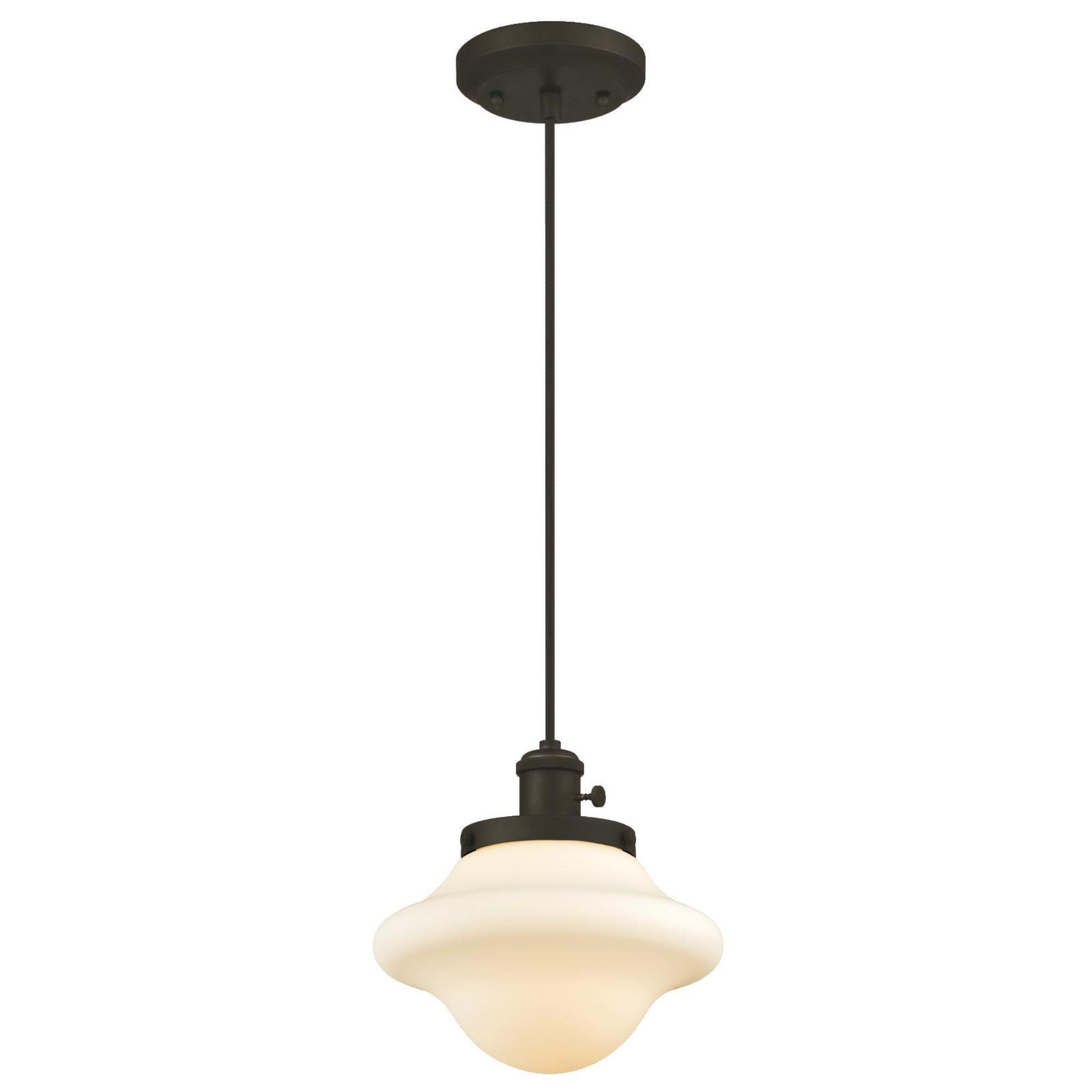 Westinghouse 6346500 One-Light Mini Pendant with Frosted Opal Glass, Oil Rubbed Bronze