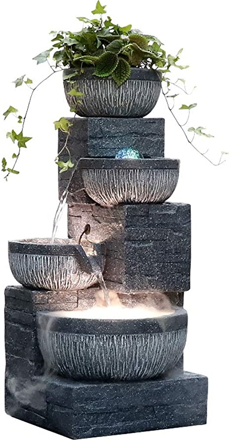 Amazon Com Cjshop Desk Fountain 27 6 H Gray Tiered Bowl Fountain With Led And Spin Ball Automatic Circulating Water Fountain Is Suitable For Living Room And Office Terrace For Home Office Tabletop Decoration