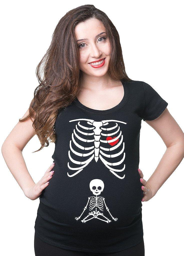 Milky Way Tshirts Frauen-X-Ray Skeleton für Schwangere Frauen Schwangerschafts-T-Shirt SilkRoadTees_maternity_trademark_CAN431