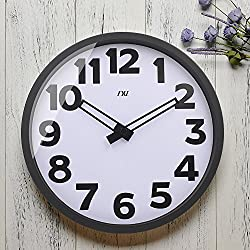 TXL 14 inch Large Digital Wall Clock, Battery Operated Silent Non Ticking Indoor Clock - Metal Glass, Jumbo Analog Wall Clock for Home Office Classroom or Garage, Black