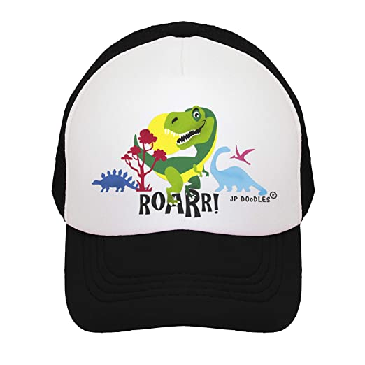 T-Rex Dinosaur on Kids Trucker Hat. The Kids Baseball Cap is Available in 74a65bdc3c2f