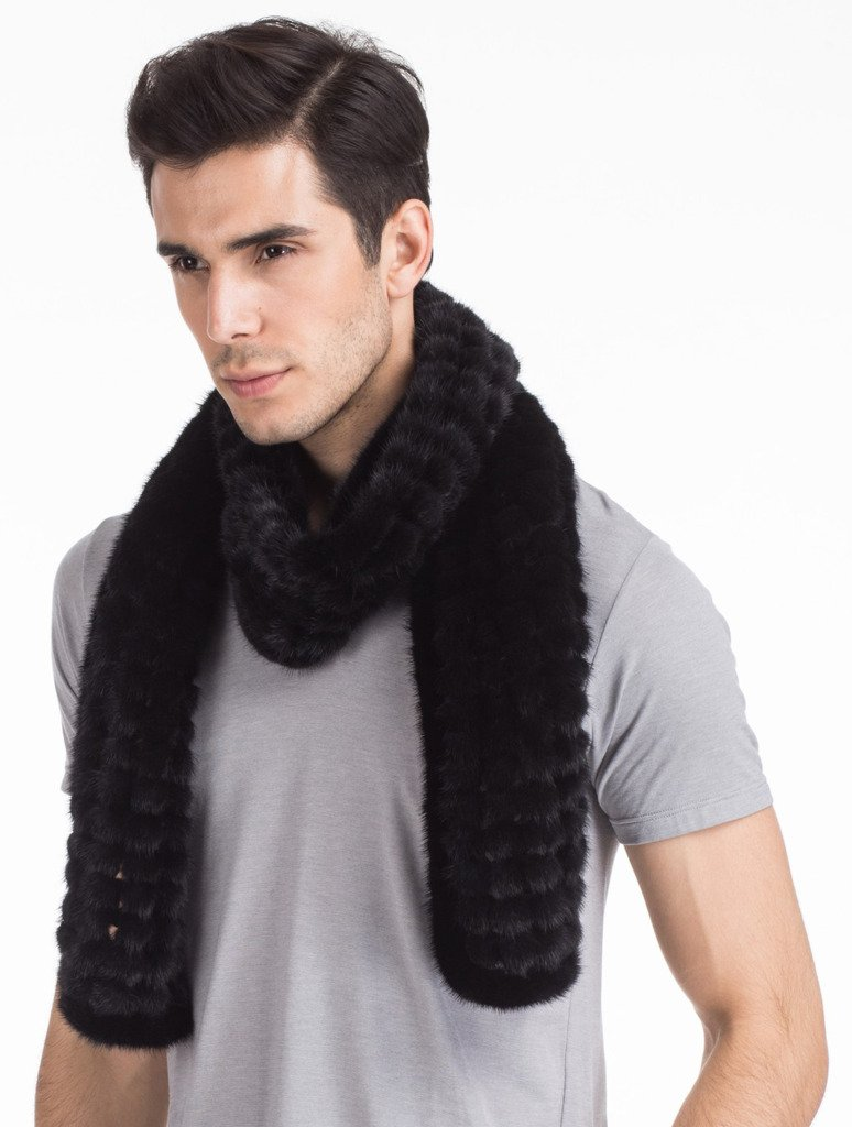 Vogueearth Mens Real Knitted Mink Fur Autumn Winter Long Scarf Black by vogueearth (Image #4)