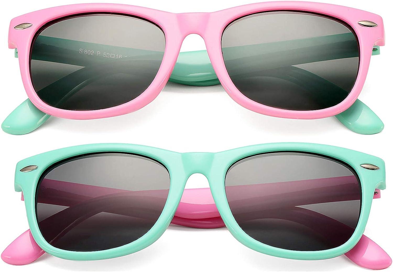 DeBuff Kids Polarized Sunglasses TPEE Rubber Flexible Frame for Boys...