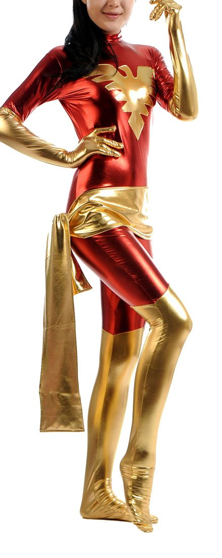 - 61xrL5QczBL - Seeksmile Women's Shiny Metallic Lycra Phoenix Zentai Catsuit