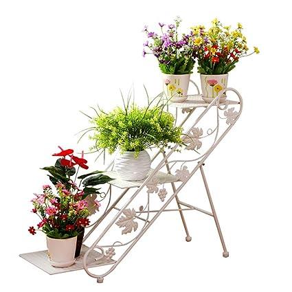 T&R TR Soporte de Flores para Interiores, Sala de Estar de la Escalera Negra de