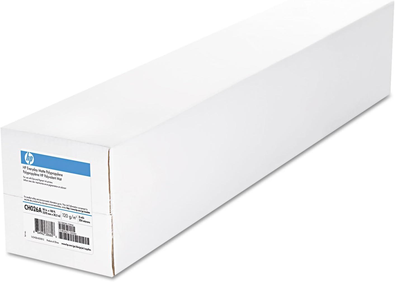 "HP CH027A Everyday Matte Polypropylene Film, 8 mil, 2"" Core, 60"" x 100 ft, White, 2 Rolls"