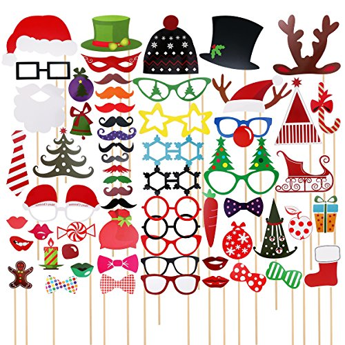 Christmas Party Supplies - TINKSKY 62 Pcs Christmas Photo Booth Props for Christmas Party Favors & Supplies