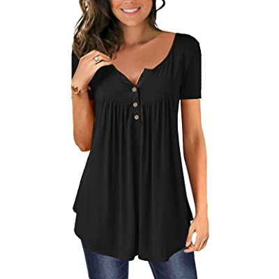 Women's Shirts Casual Blouse Short Sleeve Ruffle Button Up Tunic Tops Solid Color Fit Flare at Women's Clothing store