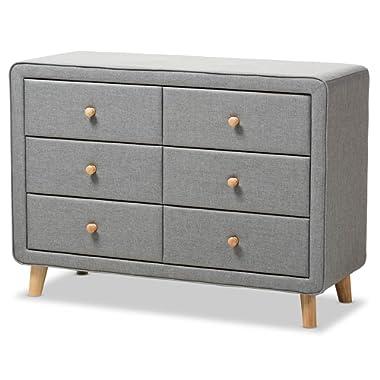 Baxton Studio 6-Drawer Dresser in Gray
