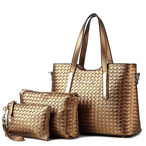 (Vincico174;Women 3 Piece Tote Bag Pu Leather Weave Handbag Shoulder Purse Bags (Gold))