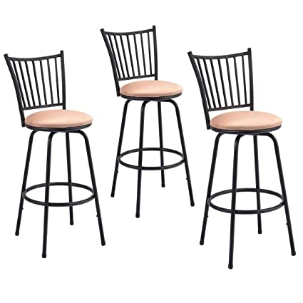 Pleasing Amazon Com Set Of 3 Swivel Counter Height Bar Stools Theyellowbook Wood Chair Design Ideas Theyellowbookinfo