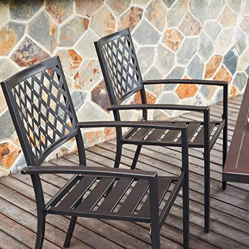 Outdoor Metal Bistro Dining Chairs Set – Patio Stackable Chairs, 2 Chairs