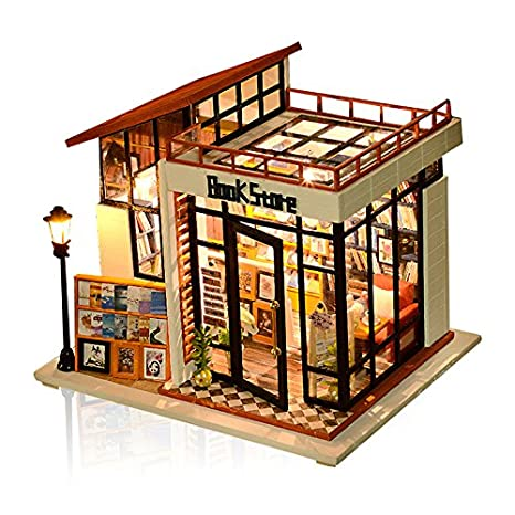 WYD DIY Bookstore Cottage Art House Handmade Mini Model With LED Assembled Toy Puzzle Birthday