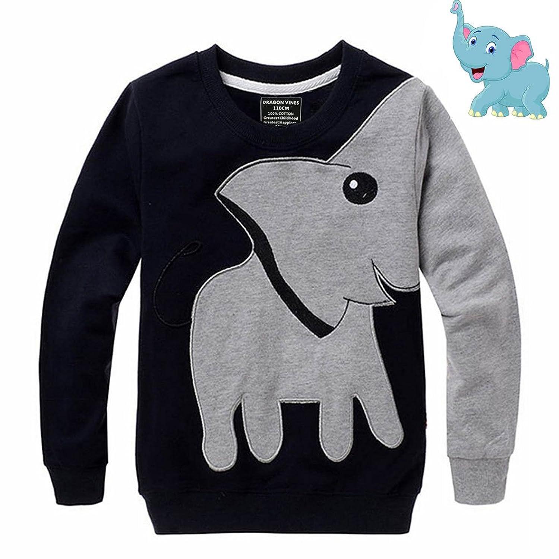 d257279a Amazon.com: Yipwin Elephant Toddler Girls Long Sleeve T Shirts: Clothing