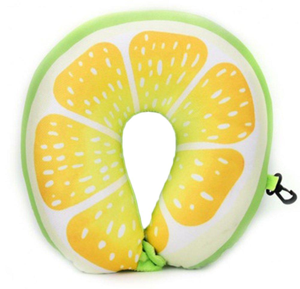 UltraソフトUシェイプ枕ネック保護フルーツ印刷Nanoparticlesクッション子供&大人旅行作業車飛行機 イエロー B075ZTPYRJ レモン レモン