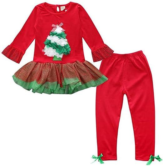 Amazon.com: Bebé Niñas Árbol de Navidad de manga larga + ...