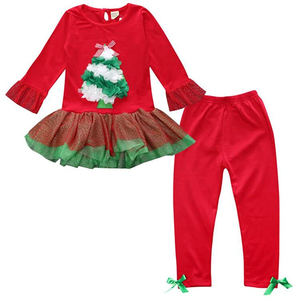 SUPEYA Baby Girls Year Christmas Long Sleeve Dress Tops Romper Outfits 2Pcs Set