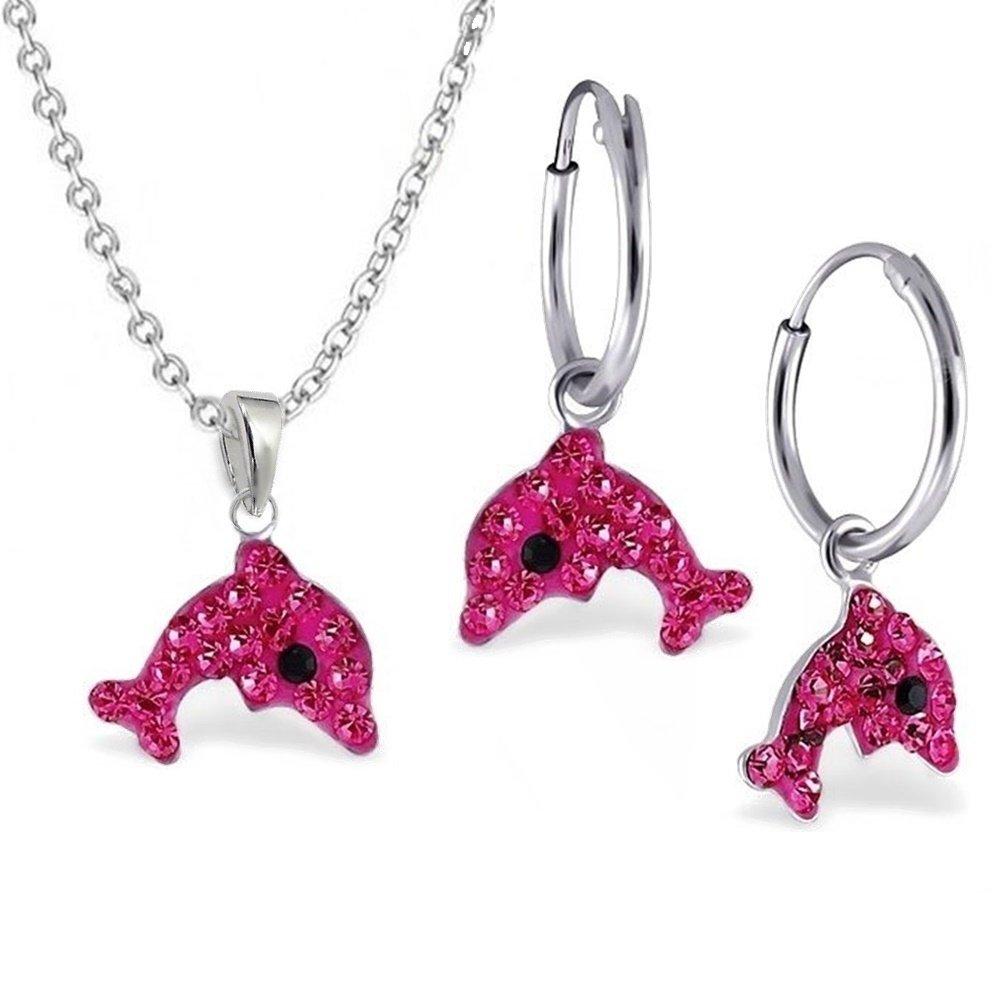 GH1a Pink Kristall Delfin SET ANHÄNGER + KETTE + CREOLEN 925 Sterling Silber Kinder Mädchen Delphin GH-1a S-0LJ9PK