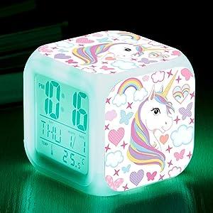 Unicorn Digital Alarm Clocks for Girls, LED Night Glowing Cube LCD Clock with Light Children Wake Up Bedside Clock Birthday Gifts for Kids Women Bedroom (Lady Unicorn)