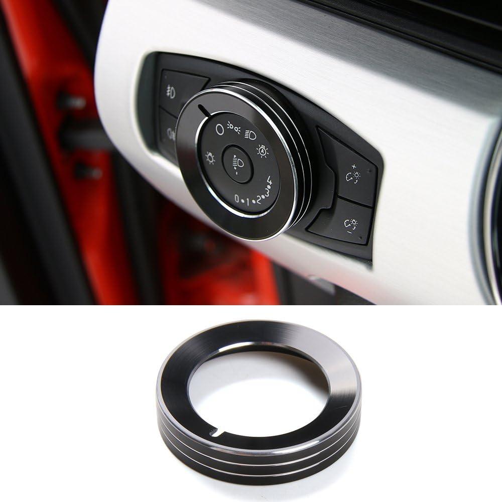 1x Aluminium Black Headlight Switch Knob Ring Decor Trim For Ford F150 2015-2017