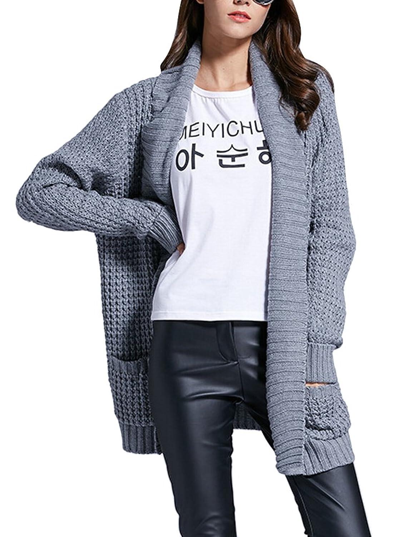 MILEEO Herbst Winter Damen Strickjacke Lang Strick Cardigan mit Taschen Mantel Outwear Langarm Grau Gr.38-42