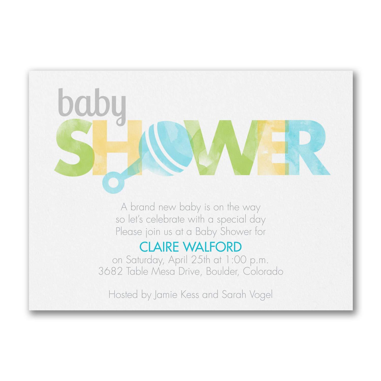 225pk Little Boy Rattle - Baby Shower Invitation-Baby Shower Invitations