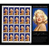 Marilyn Monroe: Legends of Hollywood, Full Sheet of 20 x 32-Cent Postage Stamps, USA 1995, Scott 2967