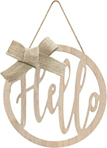 LEJHOME Hello Sign Front Door - Wood Round Hanging Wreaths Sign for Rustic Farmhouse Porch Decorations - Door Hangers Front Porch Decor Outdoor Hanging Vertical Sign
