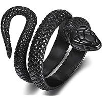 خاتم من الستانلس ستيل بتصميم رترو فينتاج على شكل ثعبان للارتداء في حفلات الكوكتيل ولسائقي الدراجات النارية