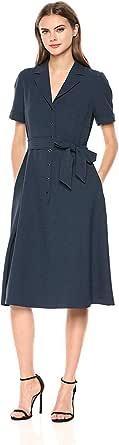 ANNE KLEIN Women's Notch Collar Belted Shirt Dress