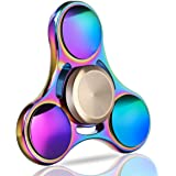 Fidget Spinner, Aemotoy Tri Hand Spinner EDC Fidget Toy Metal Steel Bearing Tri-Spinner Stress Reducer Anxiety Relief Spinner Toy- Rainbow