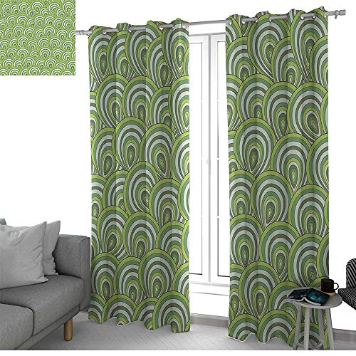 NUOMANAN Light Blocking Curtains Feather,Peacock Design with Bullseye Circles Pattern in Green Shades Wildlife,Apple Green Fern Green,for Bedroom, Kitchen, Living Room 100
