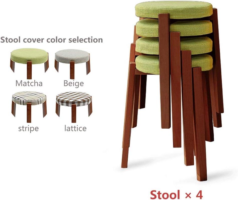 ラウンドベンチコンビネーションパッケージハイスツールソリッドウッド積み重ね可能家庭用テーブルスツール化粧スツールソファスツール (Color : 4-piece set, Size : Walnut legs)