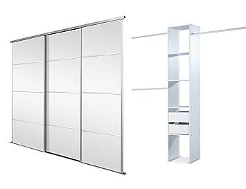 SpacePro Triple, 4 Panel Silver Framed Mirror, Sliding Wardrobe Door Kit   Up to 2235mm (7ft 4ins) wide